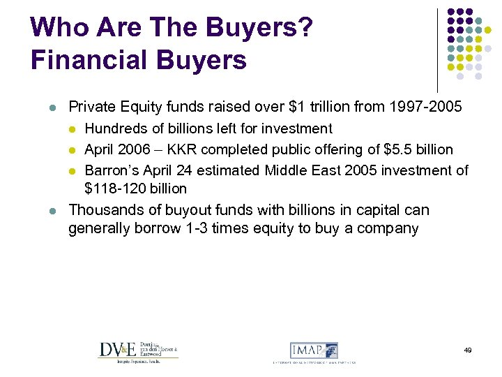Who Are The Buyers? Financial Buyers l l Private Equity funds raised over $1