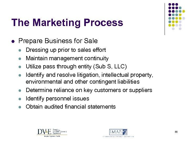 The Marketing Process l Prepare Business for Sale l l l l Dressing up