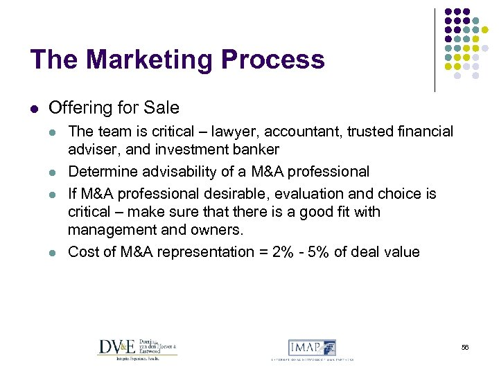 The Marketing Process l Offering for Sale l l The team is critical –