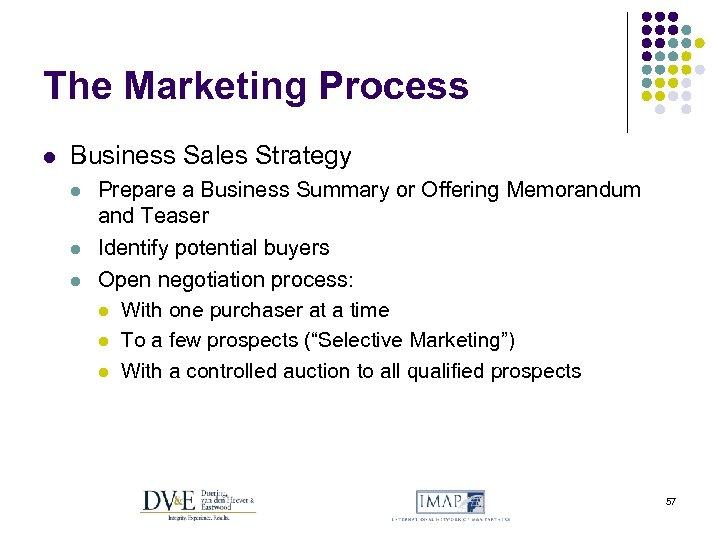 The Marketing Process l Business Sales Strategy l l l Prepare a Business Summary