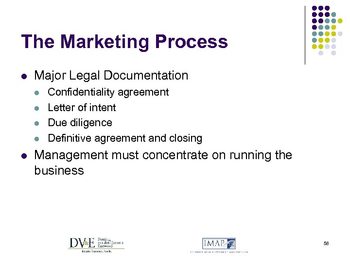 The Marketing Process l Major Legal Documentation l l l Confidentiality agreement Letter of