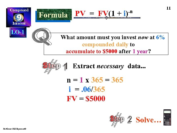 Compound 9 Interest LO-1 11 PV = FV(1 + i)-n Formula What amount must