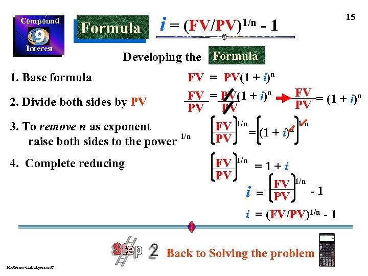 Compound 9 Interest Formula i= (FV/PV)1/n -1 15 Developing the Formula FV = PV(1