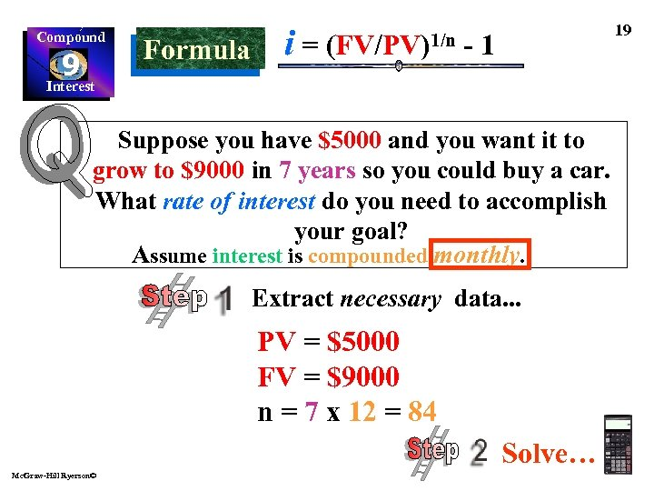 Compound 9 Interest Formula i= (FV/PV)1/n 19 -1 Suppose you have $5000 and you