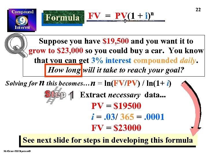 Compound 9 Interest FV = PV(1 + i)n Formula 22 Suppose you have $19,