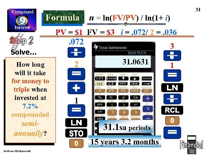 Compound 9 Interest Formula n = ln(FV/PV) / ln(1+ i) PV = $1 FV