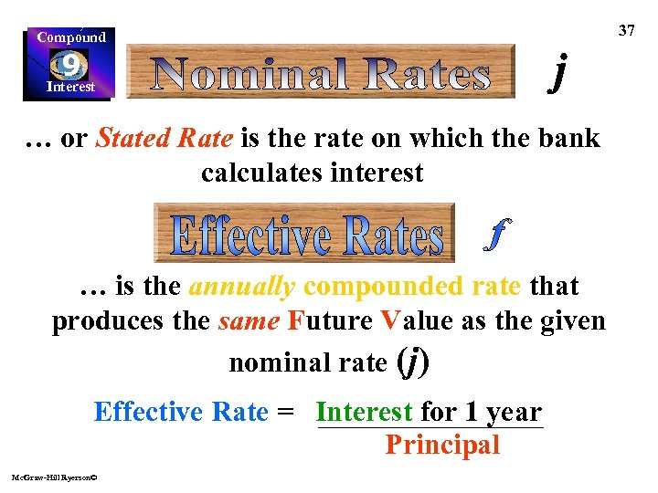Compound 9 Interest … or Stated Rate is the rate on which the bank