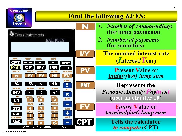 Compound 9 Interest 4 Find the following KEYS: 1. Number of compoundings (for lump