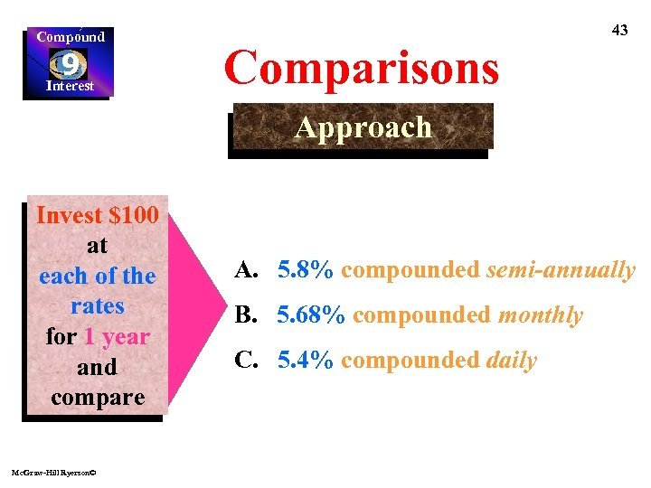 Compound 9 Interest 43 Comparisons Approach Invest $100 at each of the rates for