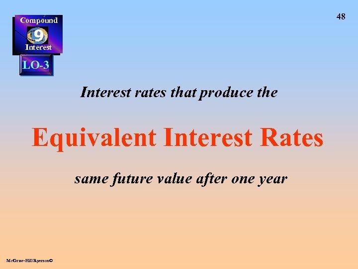 48 Compound 9 Interest LO-3 Interest rates that produce the Equivalent Interest Rates same