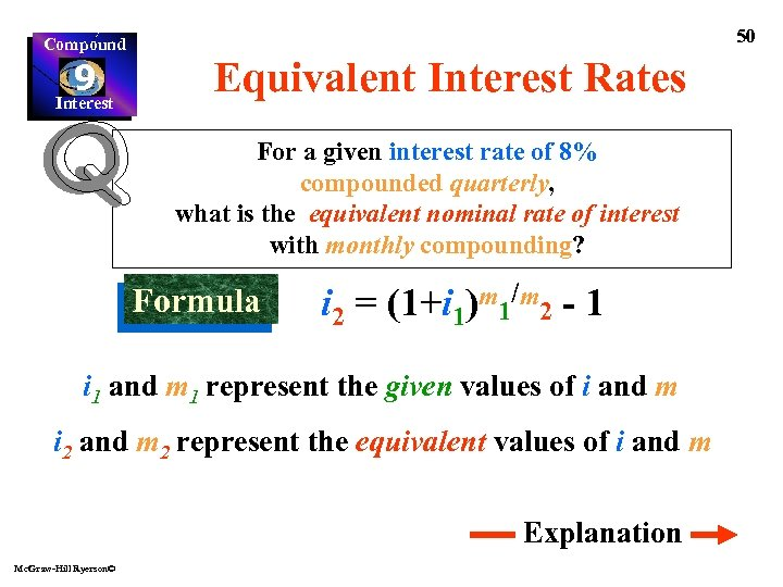 Compound 9 Interest 50 Equivalent Interest Rates For a given interest rate of 8%