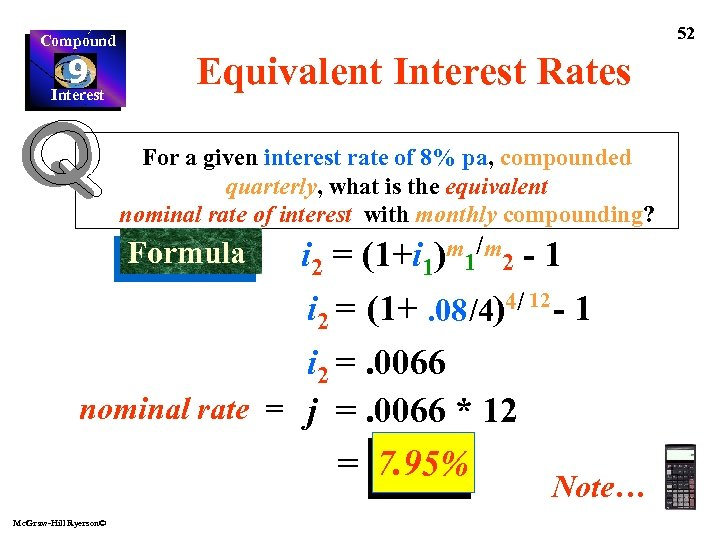 Compound 9 Interest 52 Equivalent Interest Rates For a given interest rate of 8%