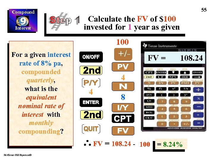 Compound 9 Interest 55 Calculate the FV of $100 invested for 1 year as