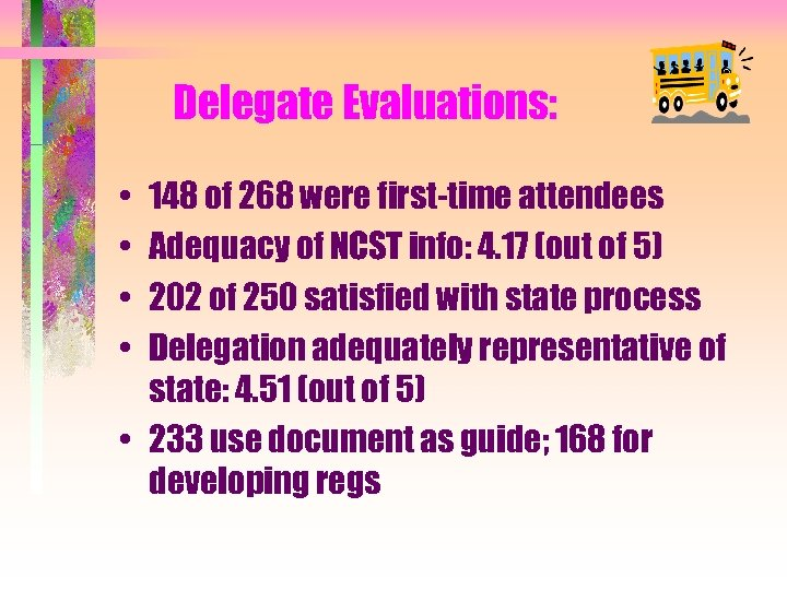 Delegate Evaluations: • • 148 of 268 were first-time attendees Adequacy of NCST info: