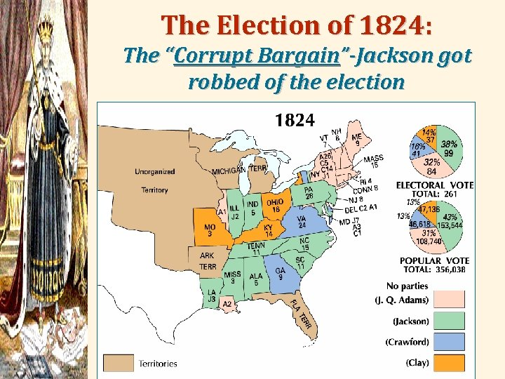"""The Election of 1824: The """"Corrupt Bargain""""-Jackson got robbed of the election"""