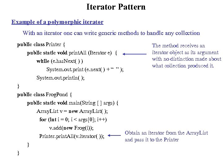 Iterator Pattern Example of a polymorphic iterator With an iterator one can write generic