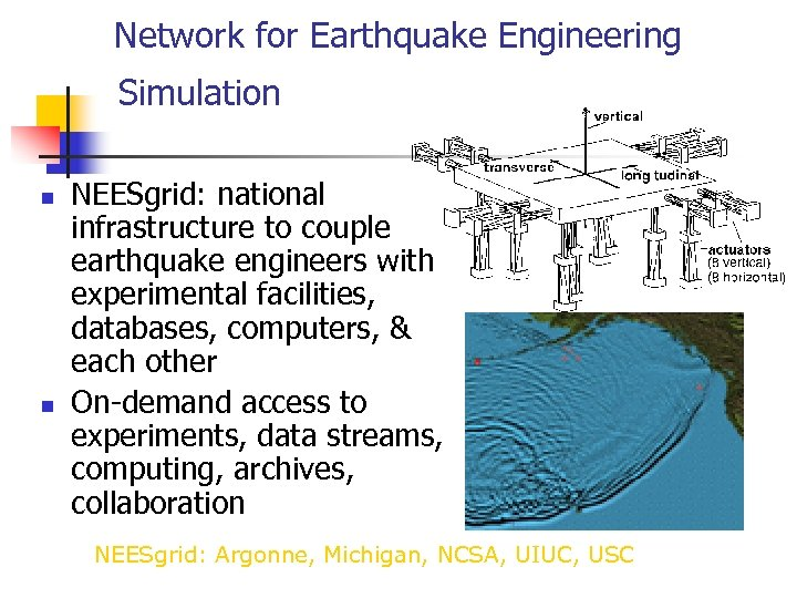 Network for Earthquake Engineering Simulation n n NEESgrid: national infrastructure to couple earthquake engineers