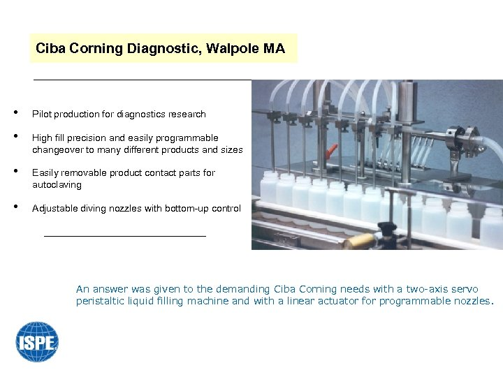 Ciba Corning Diagnostic, Walpole MA • Pilot production for diagnostics research • High fill