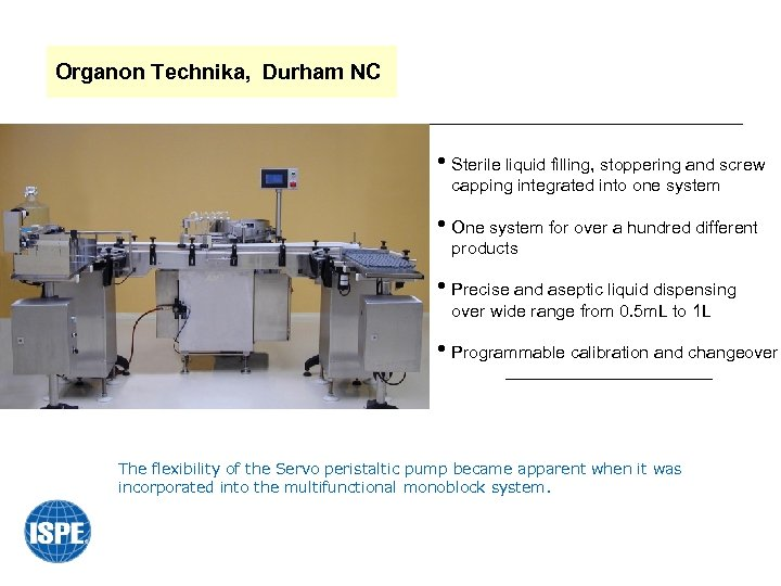 Organon Technika, Durham NC • Sterile liquid filling, stoppering and screw capping integrated into