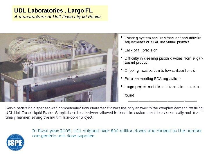 UDL Laboratories , Largo FL A manufacturer of Unit Dose Liquid Packs • Existing