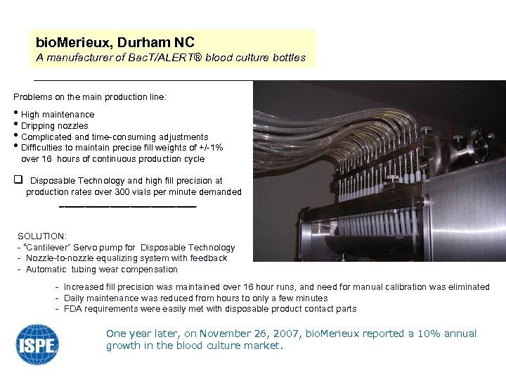 bio. Merieux, Durham NC A manufacturer of Bac. T/ALERT® blood culture bottles Problems on