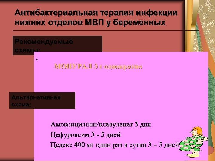 Антибактериальная терапия инфекции нижних отделов МВП у беременных Рекомендуемые схемы: . МОНУРАЛ 3 г
