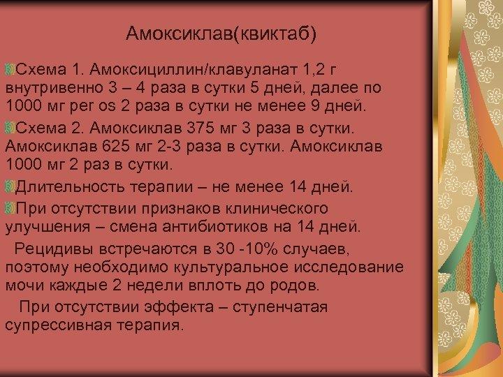 Амоксиклав(квиктаб) Схема 1. Амоксициллин/клавуланат 1, 2 г внутривенно 3 – 4 раза в сутки