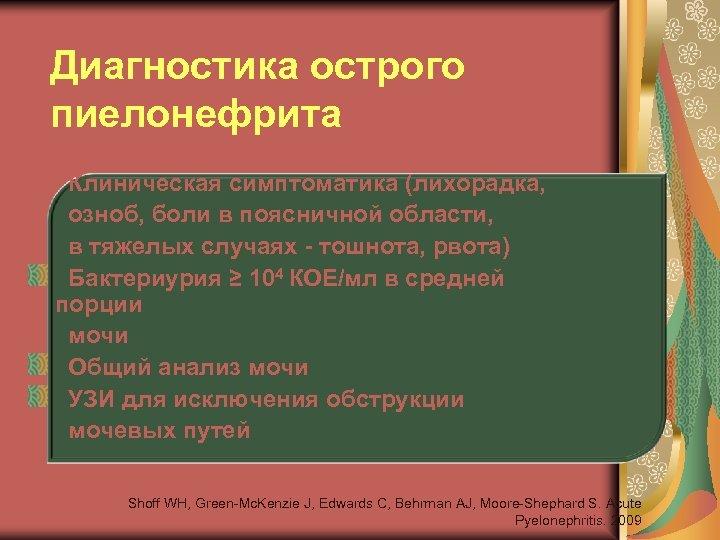 Диагностика острого пиелонефрита • Клиническая симптоматика (лихорадка, озноб, боли в поясничной области, в тяжелых