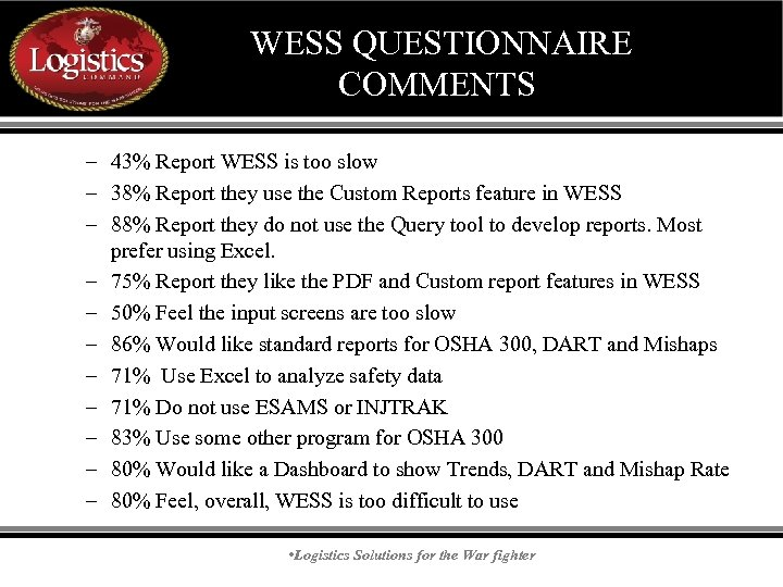 WESS QUESTIONNAIRE COMMENTS – 43% Report WESS is too slow – 38% Report they