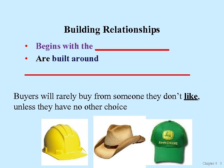 Building Relationships • Begins with the _________ • Are built around ___________________ Buyers will