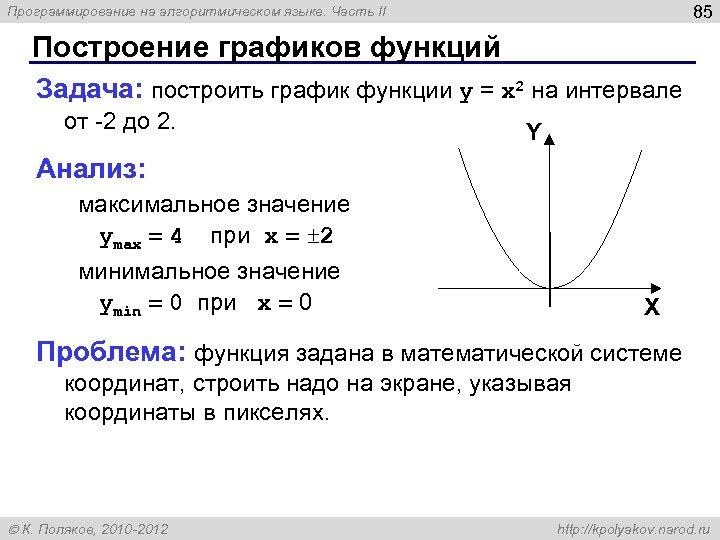 85 Программирование на алгоритмическом языке. Часть II Построение графиков функций Задача: построить график функции