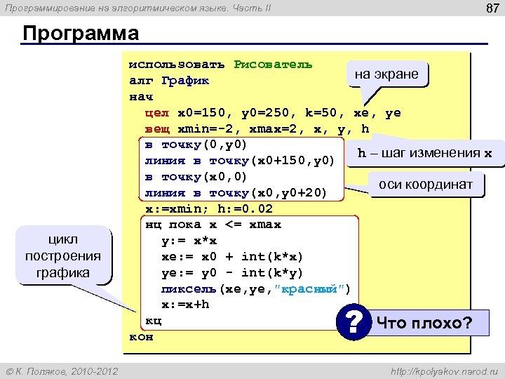 87 Программирование на алгоритмическом языке. Часть II Программа цикл построения графика использовать Рисователь на