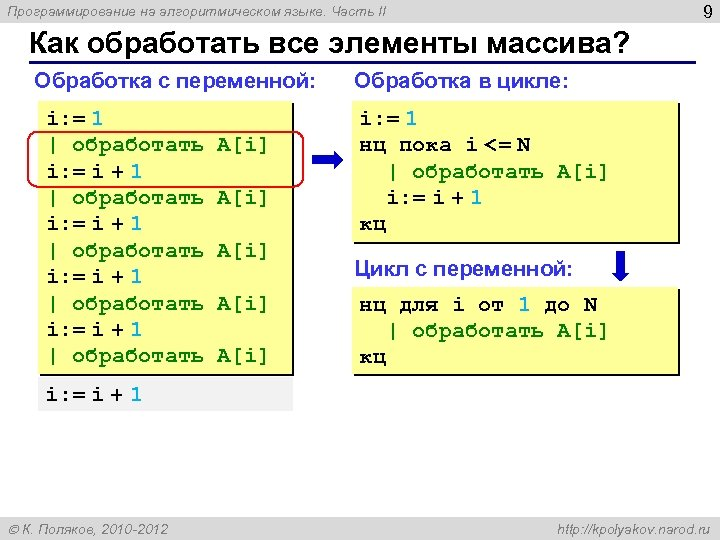 9 Программирование на алгоритмическом языке. Часть II Как обработать все элементы массива? Обработка с