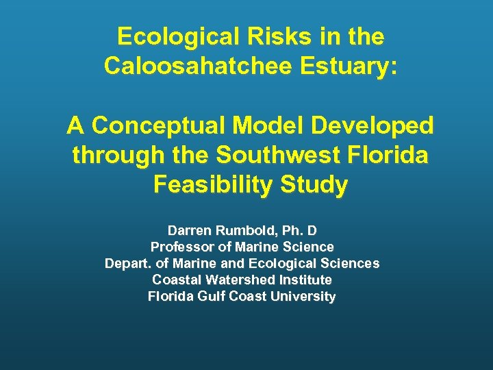 Ecological Risks in the Caloosahatchee Estuary: A Conceptual Model Developed through the Southwest Florida