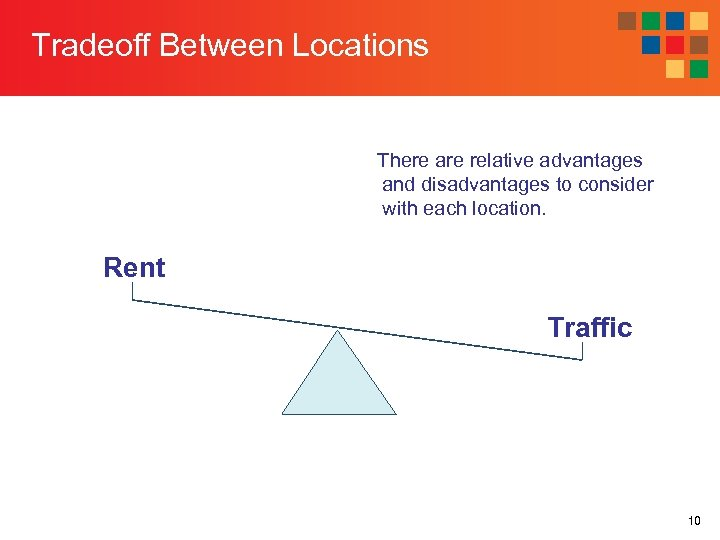 Tradeoff Between Locations There are relative advantages and disadvantages to consider with each location.