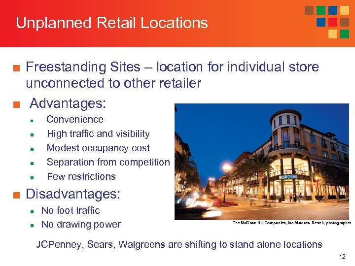 Unplanned Retail Locations ■ Freestanding Sites – location for individual store unconnected to other