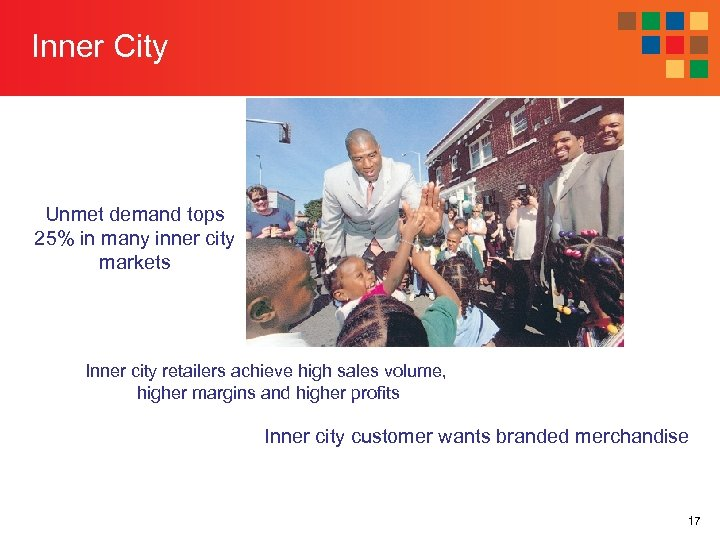 Inner City Unmet demand tops 25% in many inner city markets Inner city retailers