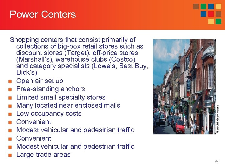 Shopping centers that consist primarily of collections of big-box retail stores such as discount
