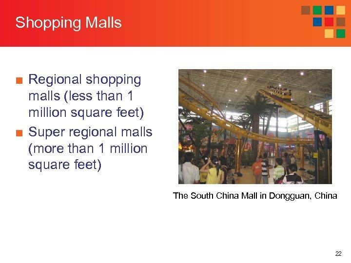 Shopping Malls ■ Regional shopping malls (less than 1 million square feet) ■ Super