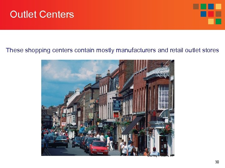 Outlet Centers These shopping centers contain mostly manufacturers and retail outlet stores Courtesy of