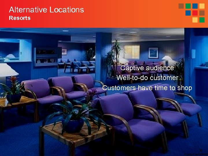 Alternative Locations Resorts Captive audience Well-to-do customer Customers have time to shop 36 Royalty-Free/CORBIS
