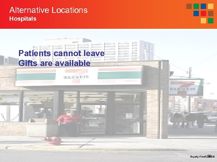 Alternative Locations Hospitals Patients cannot leave Gifts are available Royalty-Free/CORBIS 38