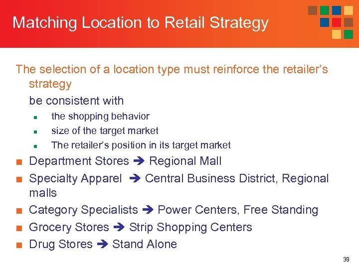 Matching Location to Retail Strategy The selection of a location type must reinforce the