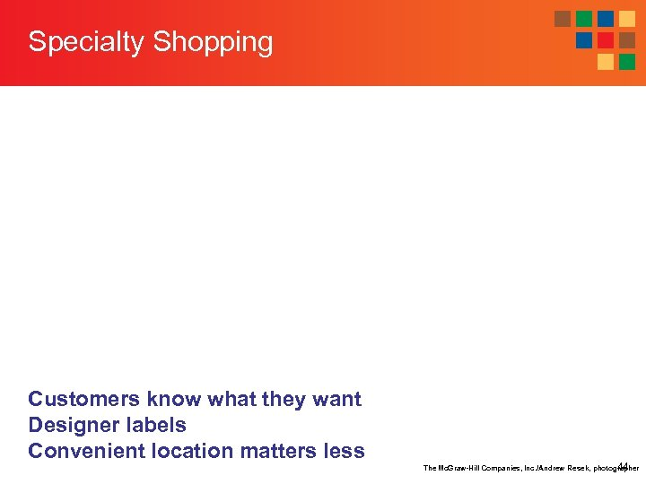 Specialty Shopping Customers know what they want Designer labels Convenient location matters less The