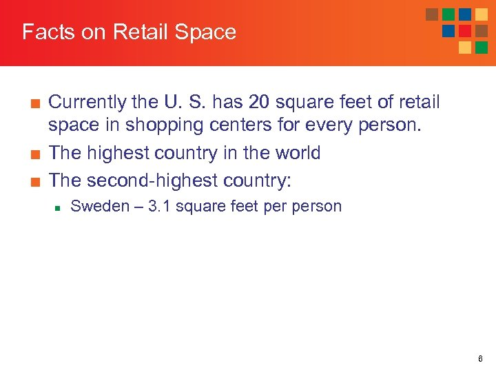 Facts on Retail Space ■ Currently the U. S. has 20 square feet of