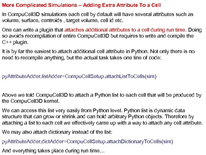 More Complicated Simulations – Adding Extra Attribute To a Cell In Compu. Cell 3