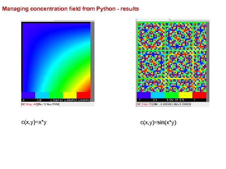 Managing concentration field from Python - results c(x, y)=x*y c(x, y)=sin(x*y)