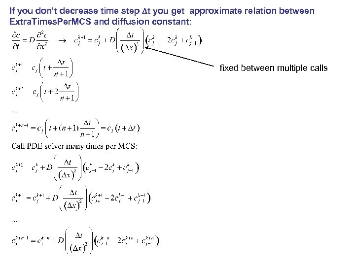 If you don't decrease time step Dt you get approximate relation between Extra. Times.