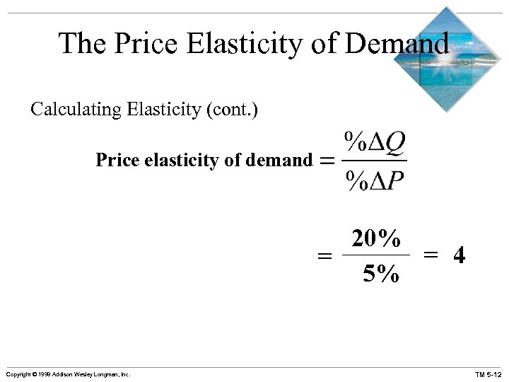 The Price Elasticity of Demand Calculating Elasticity (cont. ) Price elasticity of demand 20%