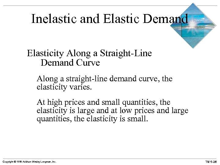 Inelastic and Elastic Demand Elasticity Along a Straight-Line Demand Curve Along a straight-line demand